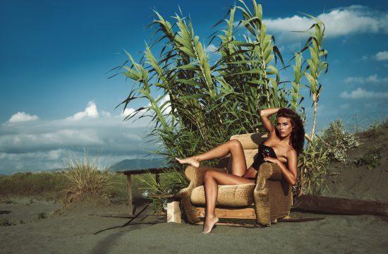 Žena, devojka, bikini, plaža, fotelja